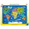 Puzzle Weltkarte mit Tieren