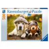 Puzzle Hund mit Mütze