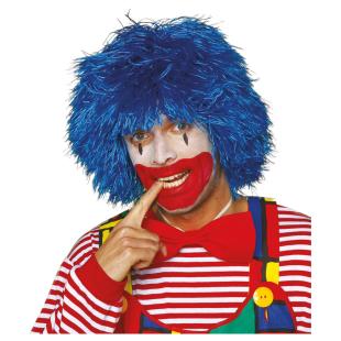 Perücke Clown Fransen blau