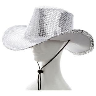 Cowboyhut Pailletten silber