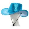 Cowboyhut Pailletten blau