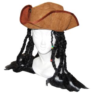 Dreispitz Pirat mit Haaren