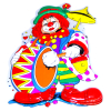 Dekomaske Clown mit Trommel