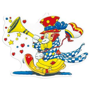 Dekomaske Clown mit Tröte