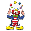Dekomaske Clown Jongleur