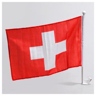 Autofahne mit Stab Schweiz