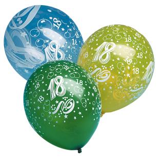 Ballon mit Zahl 18, 5 Stück