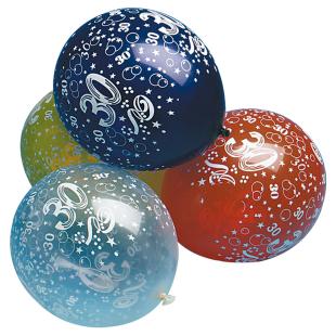Ballon mit Zahl 30, 5 Stück