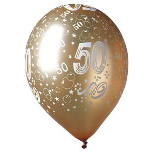 Ballon gold mit Zahl 50