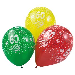 Ballon mit Zahl 60, 5 Stück