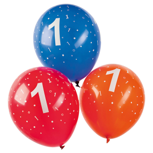 Ballon mit Zahl 1, 5 Stück