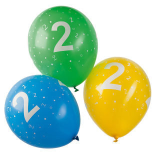 Ballon mit Zahl 2, 5 Stück