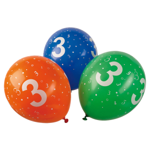 Ballon mit Zahl 3, 5 Stück