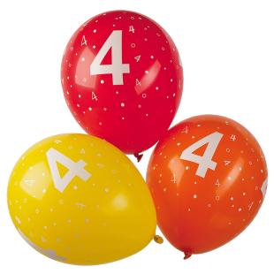 Ballon mit Zahl 4, 5 Stück