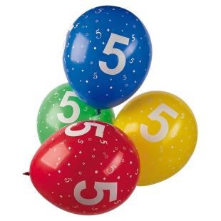 Ballon mit Zahl 5, 5 Stück