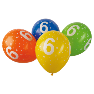 Ballon mit Zahl 6, 5 Stück