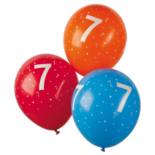Ballon mit Zahl 7, 5 Stück