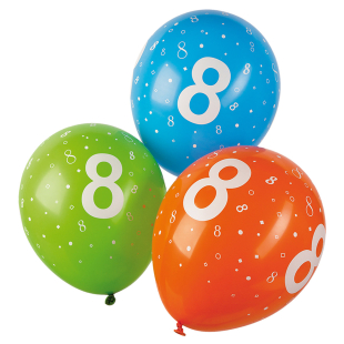 Ballon mit Zahl 8, 5 Stück