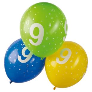 Ballon mit Zahl 9, 5 Stück