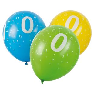 Ballon mit Zahl 0, 5 Stück